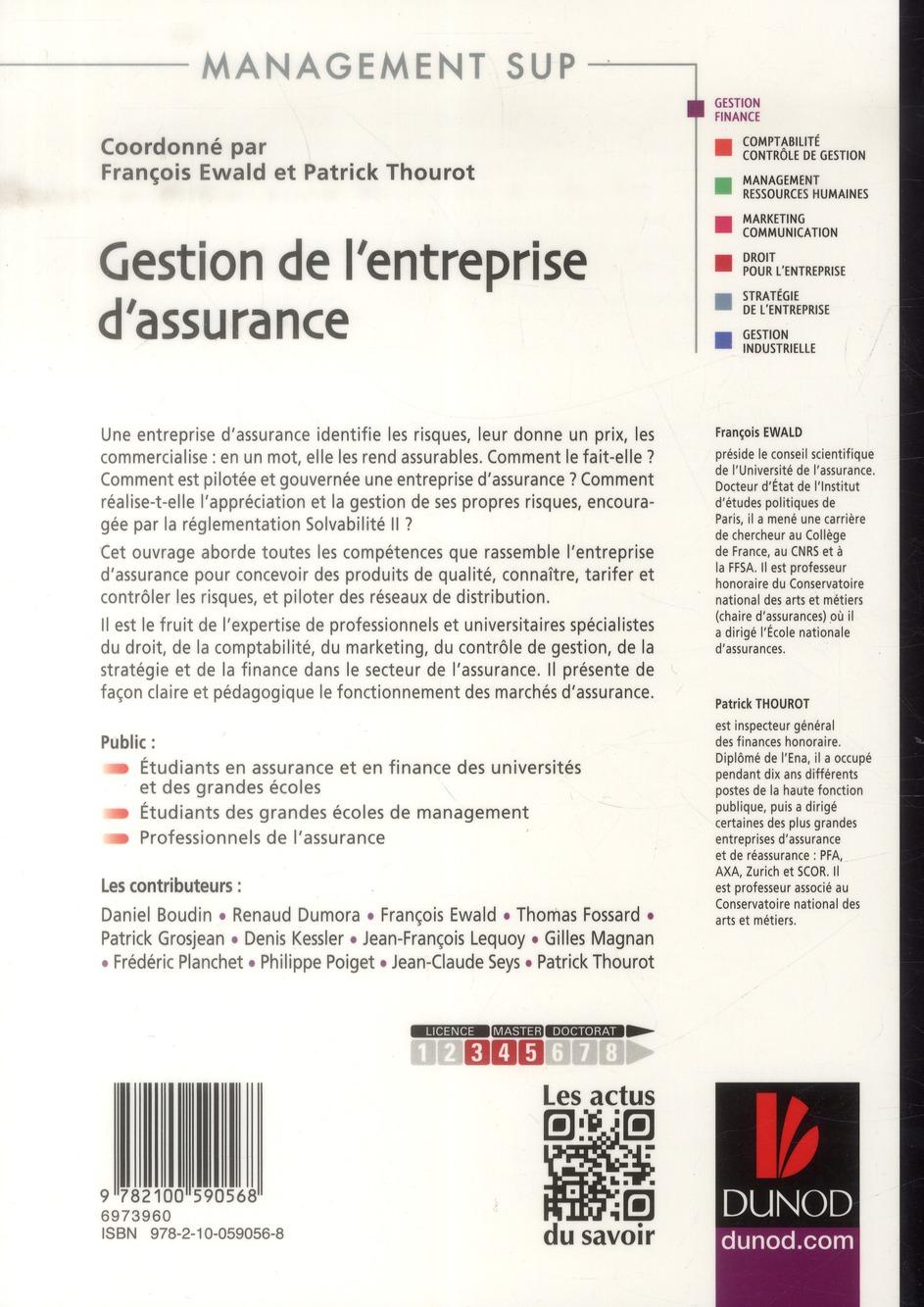 Gestion de l'entreprise d'assurance