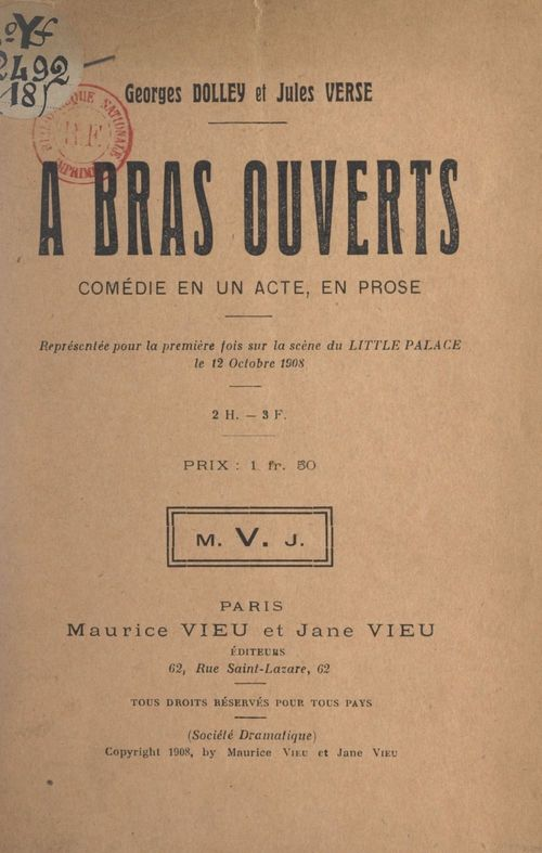 À bras ouverts  - Georges Dolley  - Jules Verse