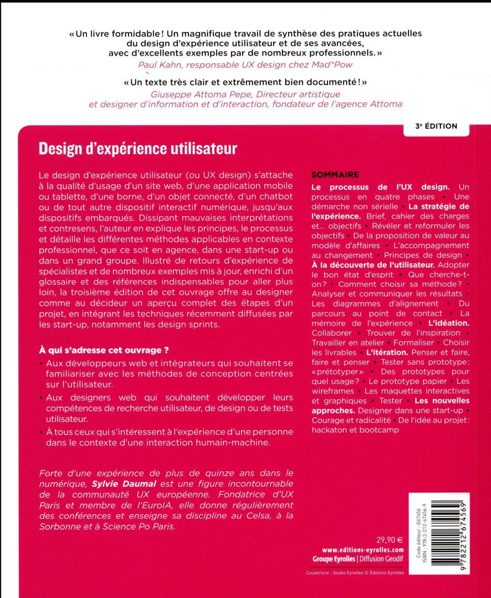 Design d'expérience utilisateur ; principes et méthodes UX (4e édition)