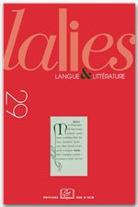 REVUE LALIES N.29 ; revue lalies t.29