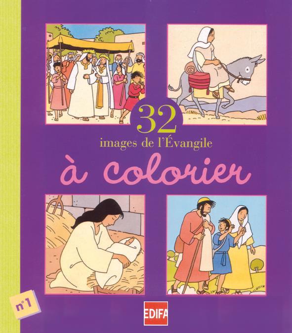 32 images de l'évengile à colorier ; cahier n°1