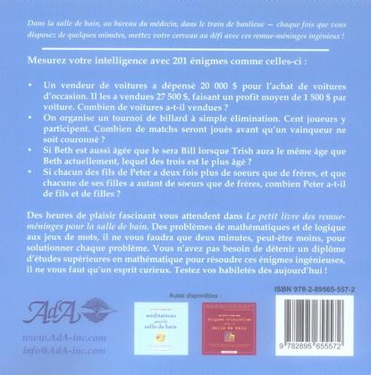 Le petit livre des remue-méninges pour la salle de bain ; énigmes pour vous distraire et vous mettre au défi chaque jour