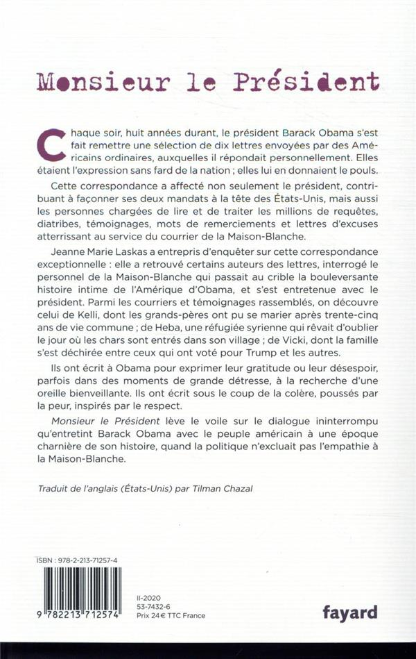 Monsieur le président, ; Barack Obama et les citoyens américains en toutes lettres