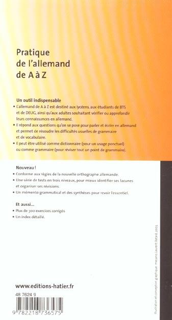 Pratique de l'allemand de A à Z