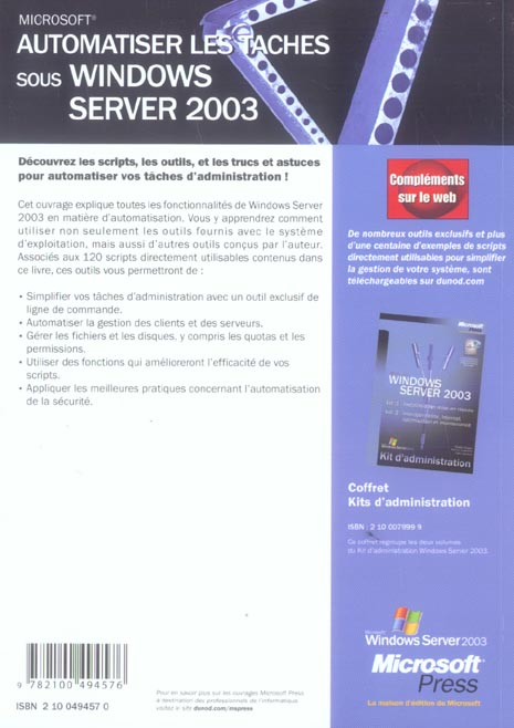 Automatiser les taches sous windows server 2003 - kit de ressources techniques