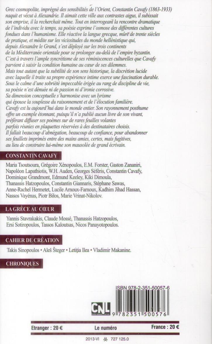 Revue europe t.1010; t.1011 ; constantin cavafy (juin-juillet 2013)