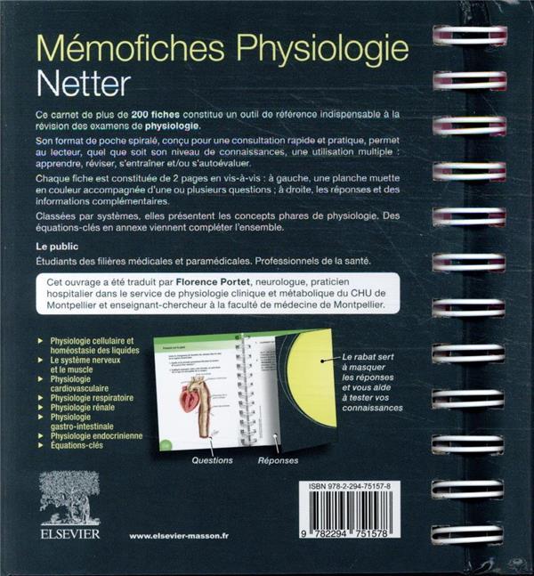 Memo Fiches Physiologie Netter Susan Mulroney Adam Myers Elsevier Masson Grand Format Librairies Autrement