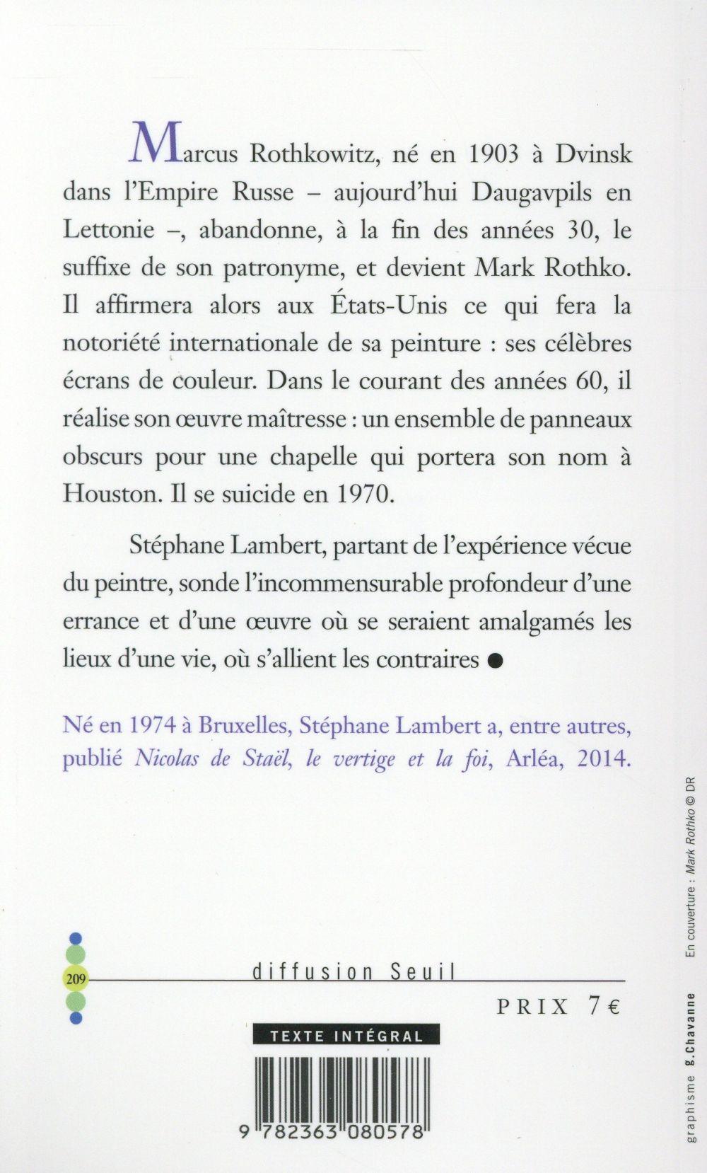 Mark Rothko ; rêver de ne pas être