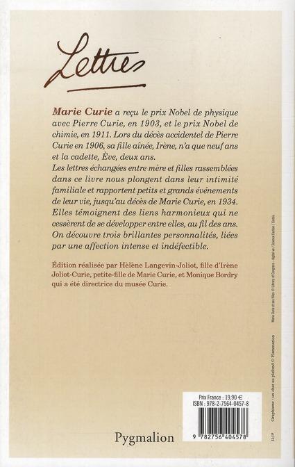 Marie Curie et ses filles ; lettres