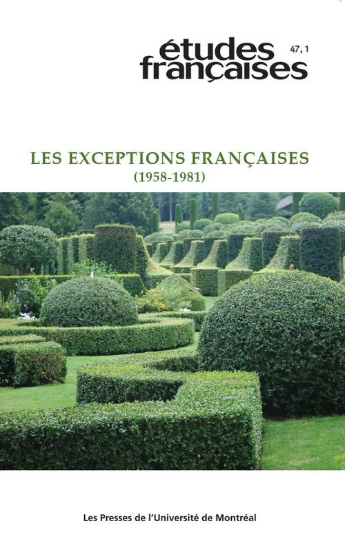 Études françaises. Vol. 47 No. 1,  2011