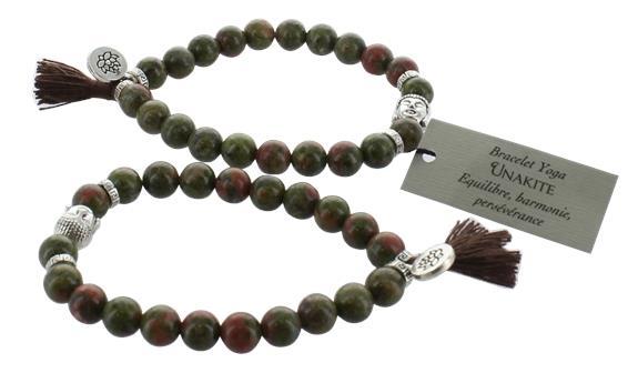 Bracelet unakite perles rondes 8 mm pompon et lotus