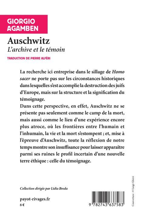 Auschwitz ; l'archive et le témoin