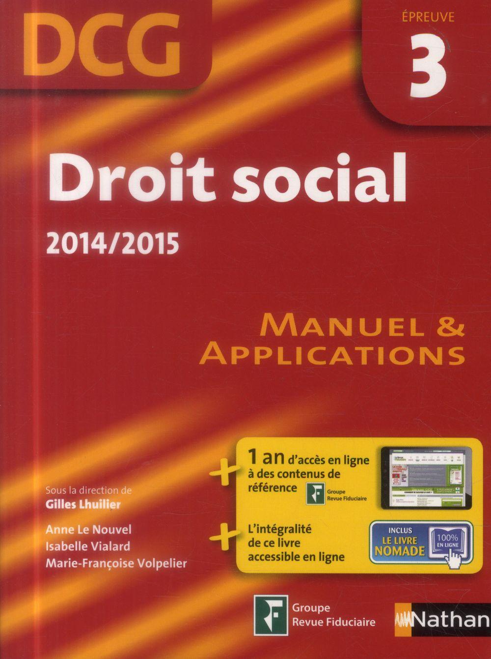 Droit social ; épreuve 3 ; DCG ; manuel & applications ; livre de l'élève (édition 2014/2015)
