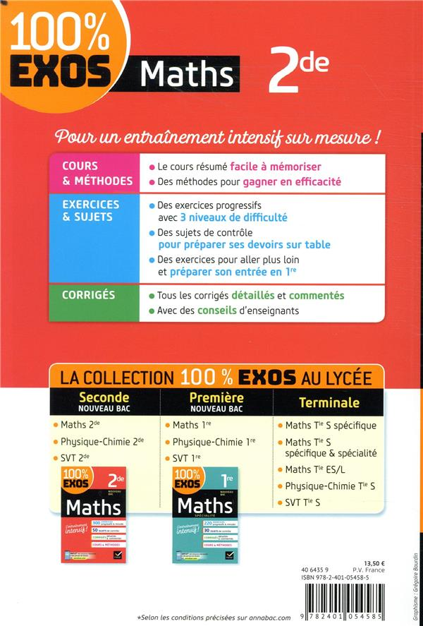 100 Exos Maths 2nde Laurent Darre Hatier Grand Format Lamartine Paris