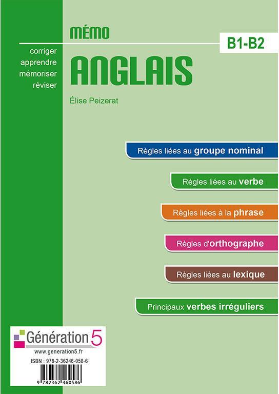 Memo Anglais B1 B2 Elise Peizerat Generation 5 Grand Format Le Hall Du Livre Nancy