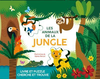 Les animaux de la jungle : livre et puzzle cherche et trouve