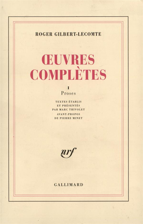 Oeuvres completes (tome 1-proses)