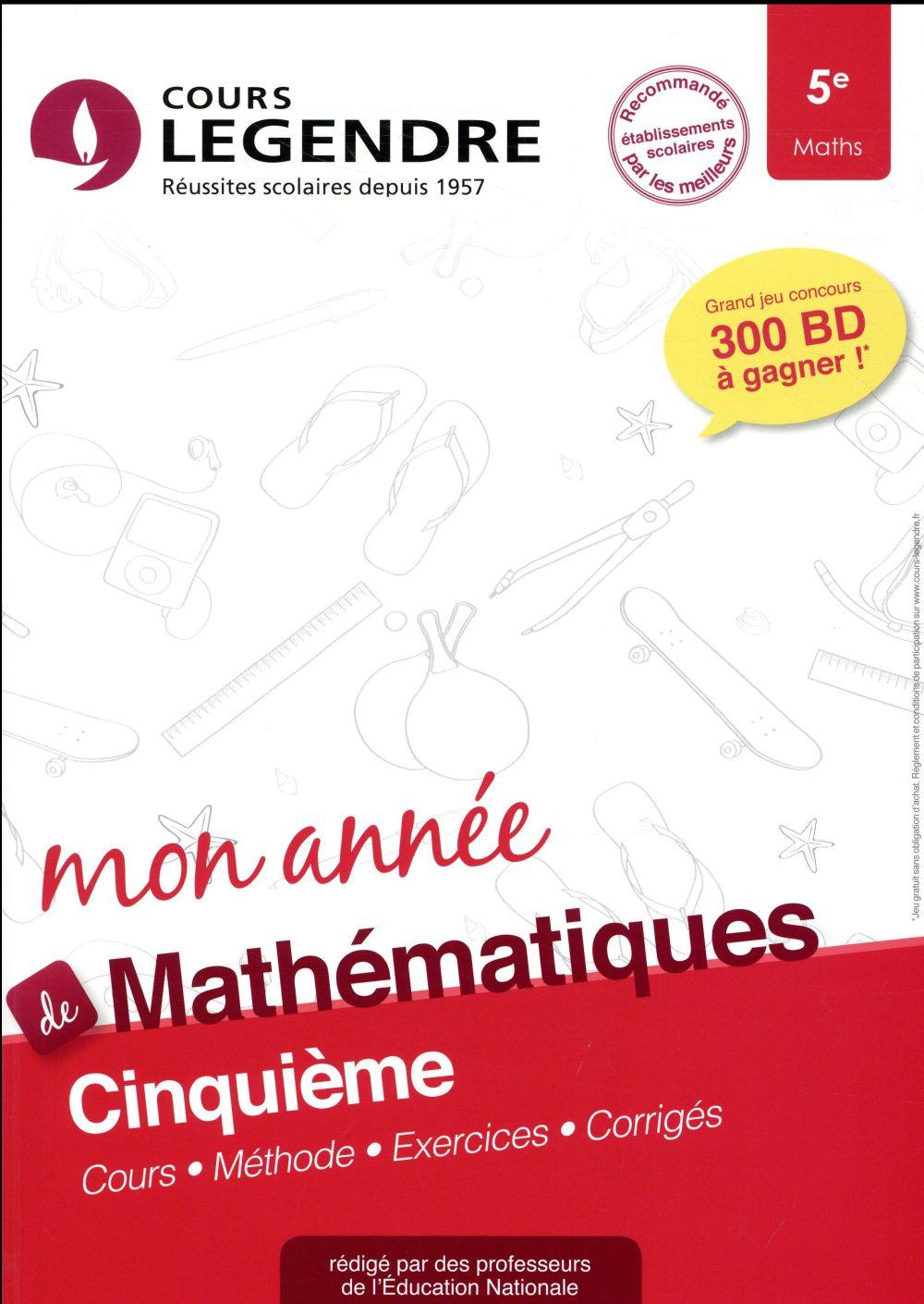 Cours Legendre ; mathématiques ; 5e mon année (édition 2018)