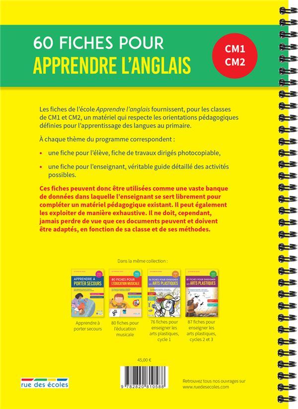 60 fiches pour apprendre l'anglais ; CM1 CM2