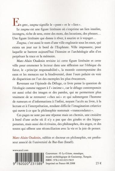 Zeugma ; mémoire biblique et déluges contemporains