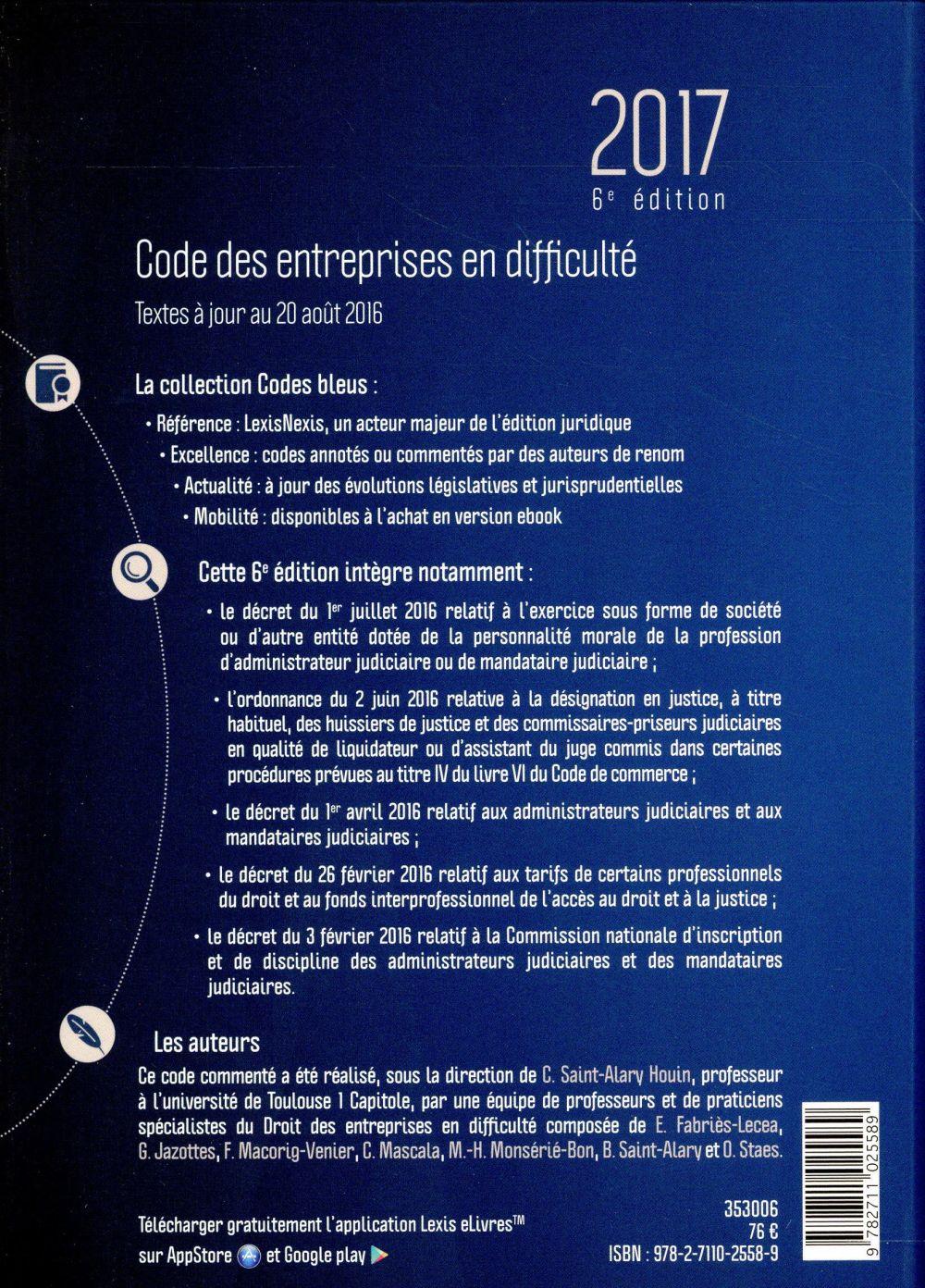 Code des entreprises en difficulté (édition 2017)