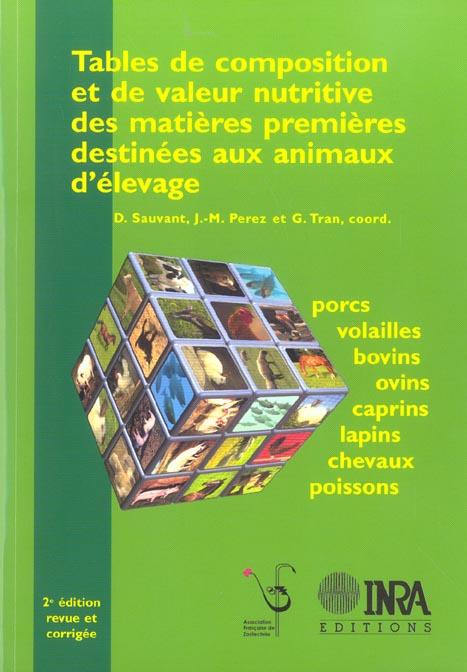 Tables De Composition Et De Valeur Nutritive Des Matieres Premieres Destinees Aux Animaux D'Elevage.