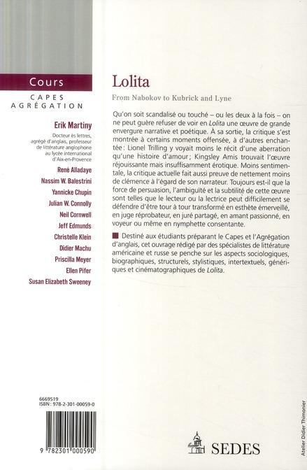 Lolita, de Nabokov ; CAPES, Agrégation de littérature anglaise