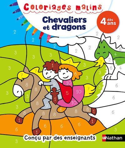 Coloriages malins ; chevaliers et dragons ; dès 4 ans