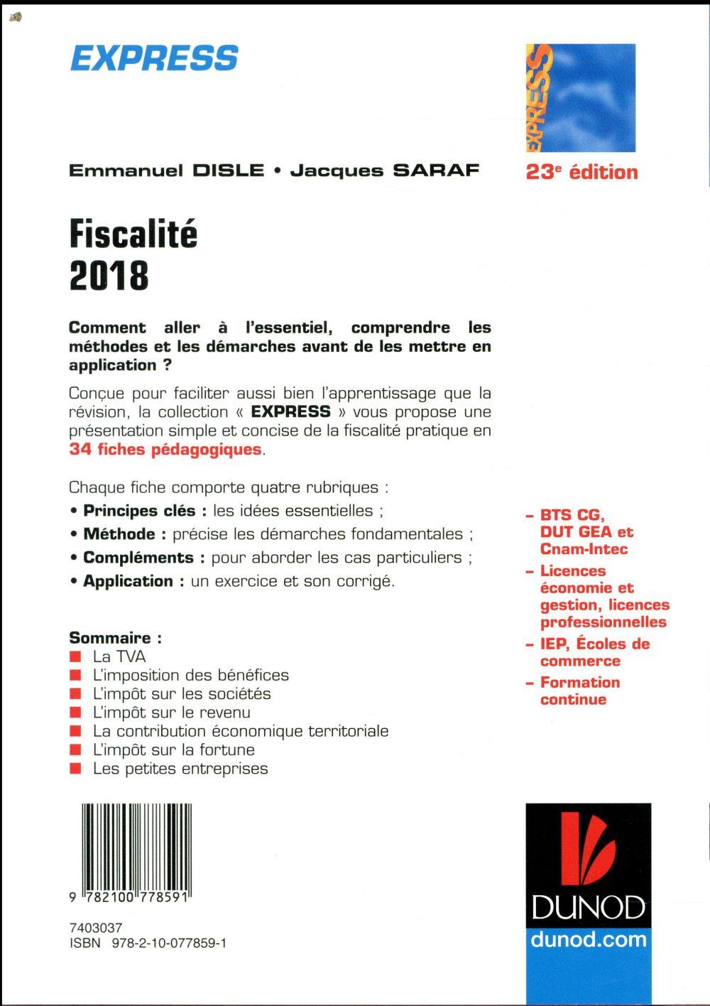 Fiscalité en 34 fiches ; à jour de la loi de finances (édition 2018)