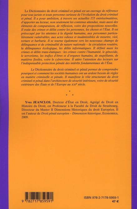 Dictionnaire du droit criminel et pénal ; dimension historique