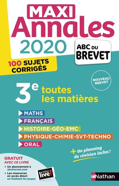 MAXI ANNALES ABC DU BREVET T.26 ; toutes les matières ; 3e (édition 2020)