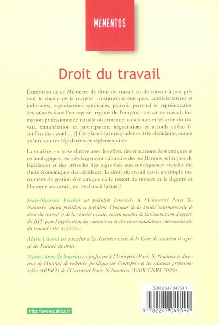Droit du travail ; 12e edition