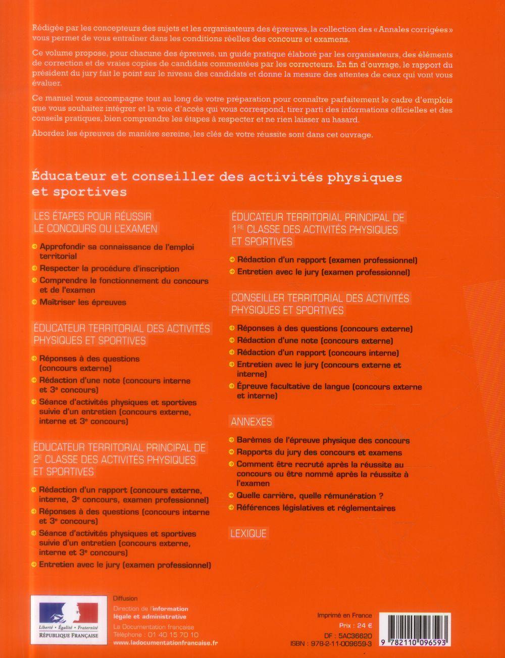 éducateur/conseiller des activités physiques et sportives ; concours et examens par avancement de grade, catégorie A et B (édition 2015-2016)