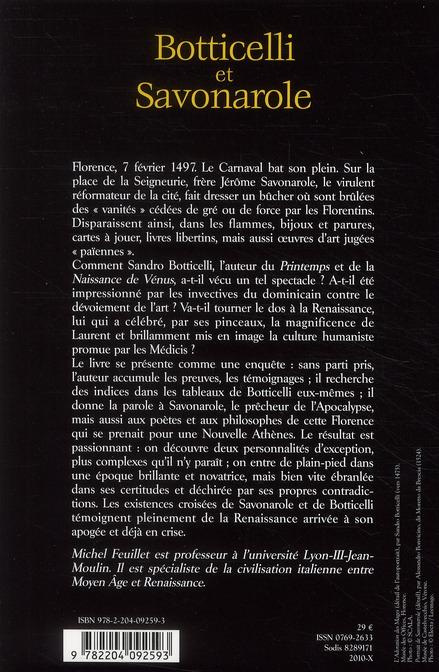 Botticelli et Savonarole ; l'humanisme à l'épreuve du feu