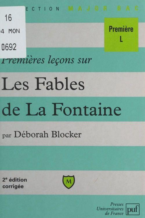 Premières leçons sur les Fables de La Fontaine