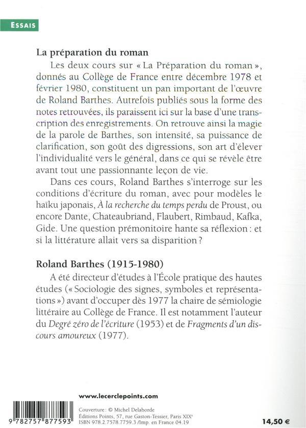 La préparation du roman ; cours au Collège de France (1978-1979 et 1979-1980)