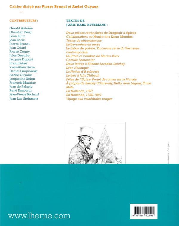 LES CAHIERS DE L'HERNE ; Huysmans