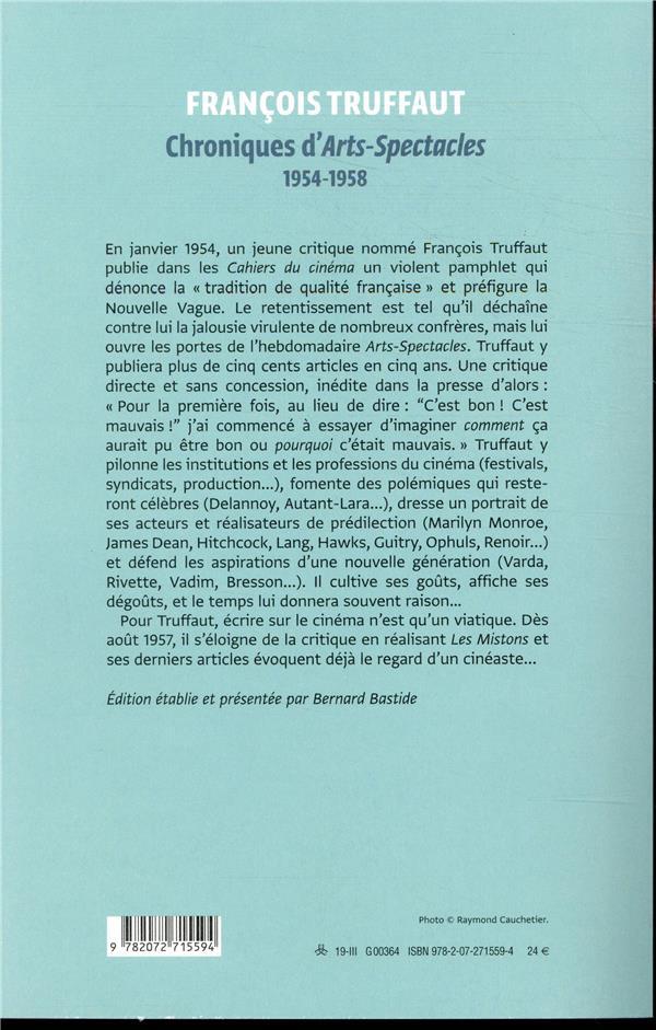 Chroniques d'arts-spectacles ; 1954-1958