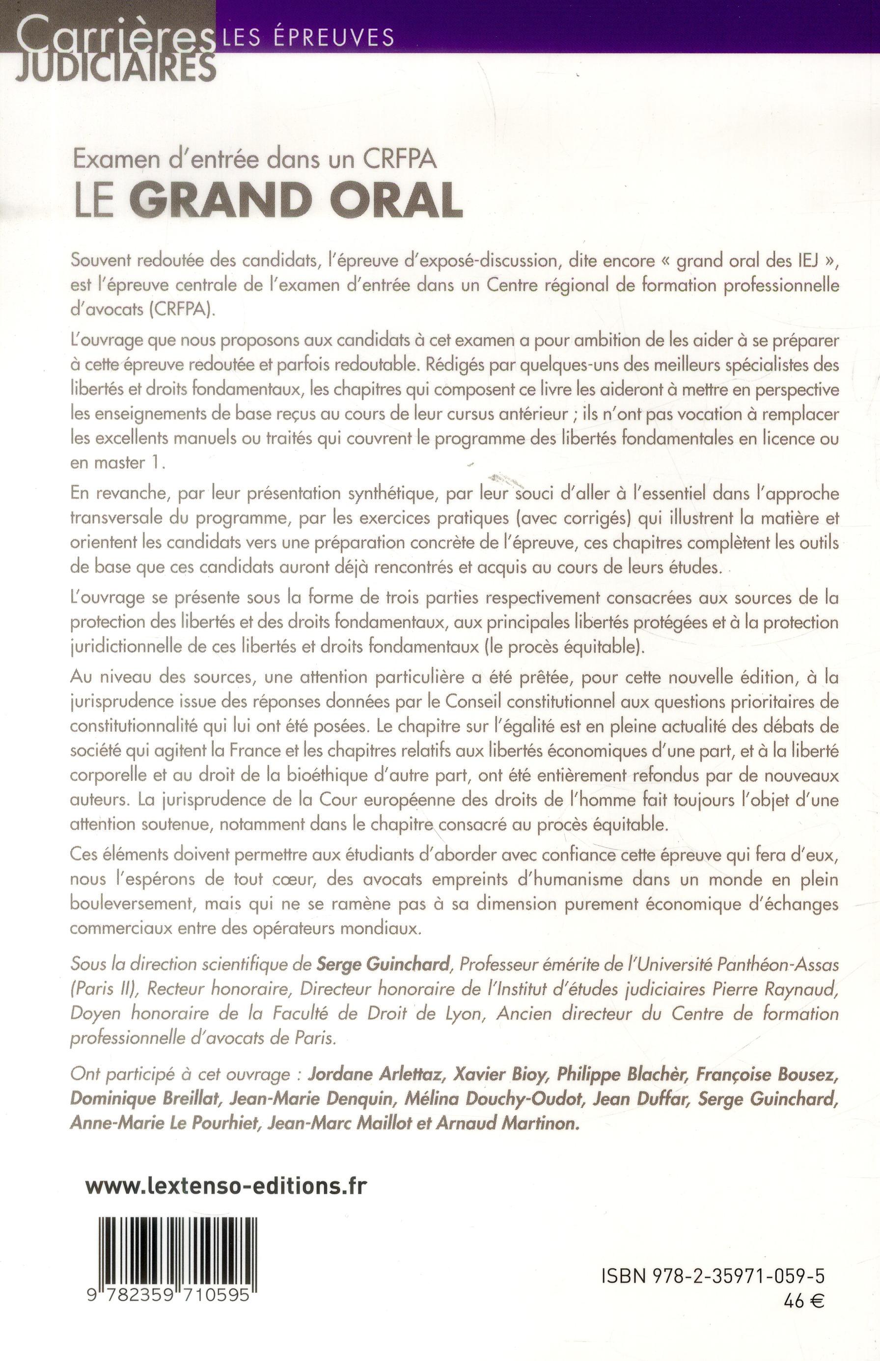 Examen d'entrée dans un CRFPA ; le grand oral ; protection des libertés et des droits fondamentaux