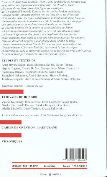 Revue europe t.872; junichiro tanizaki