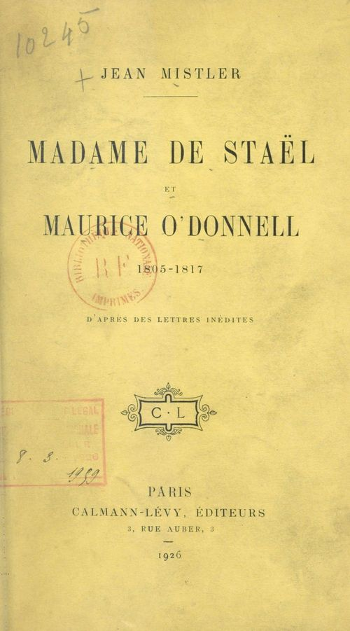 Madame de Staël et Maurice O'Donnell