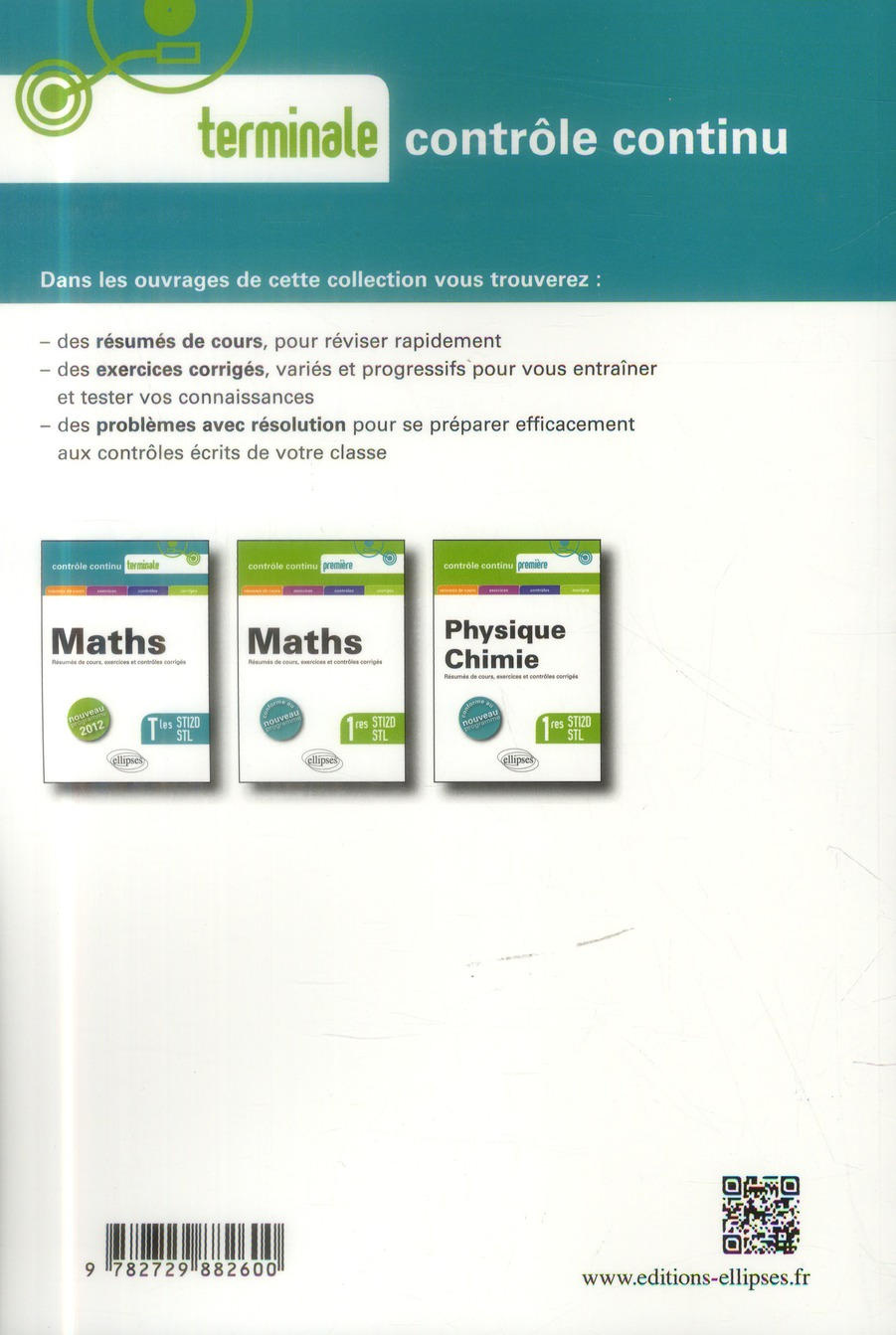 Contrôle continu ; physique-chimie ; terminale STI2D et STL ; conforme au programme 2012