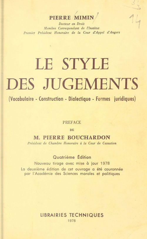 Le style des jugements