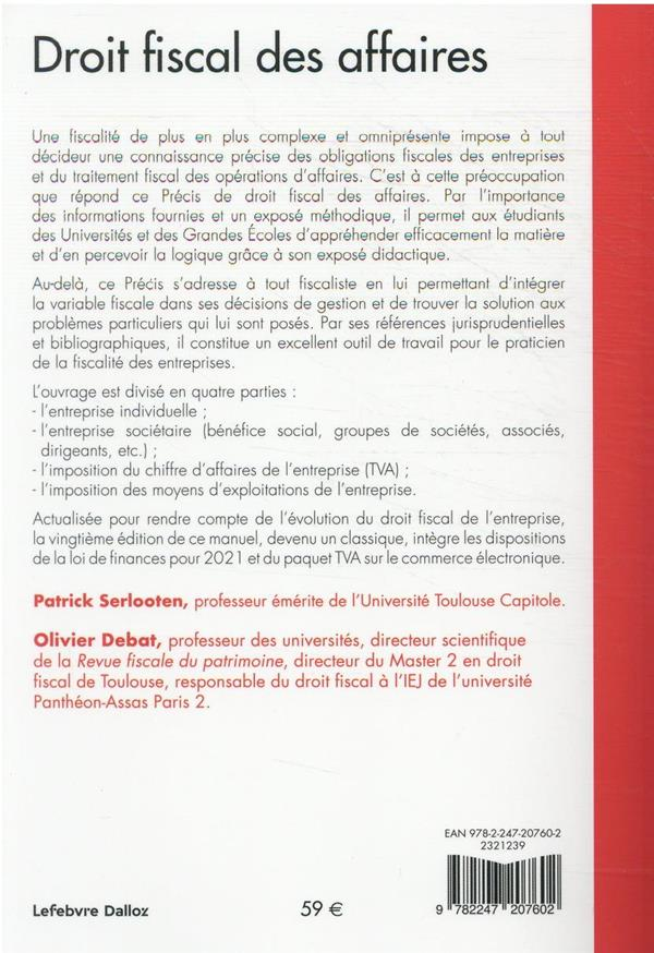 droit fiscal des affaires (édition 2021/2022)