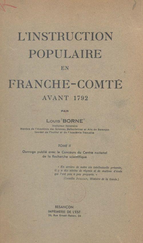 L'instruction populaire en Franche-Comté avant 1792 (2)