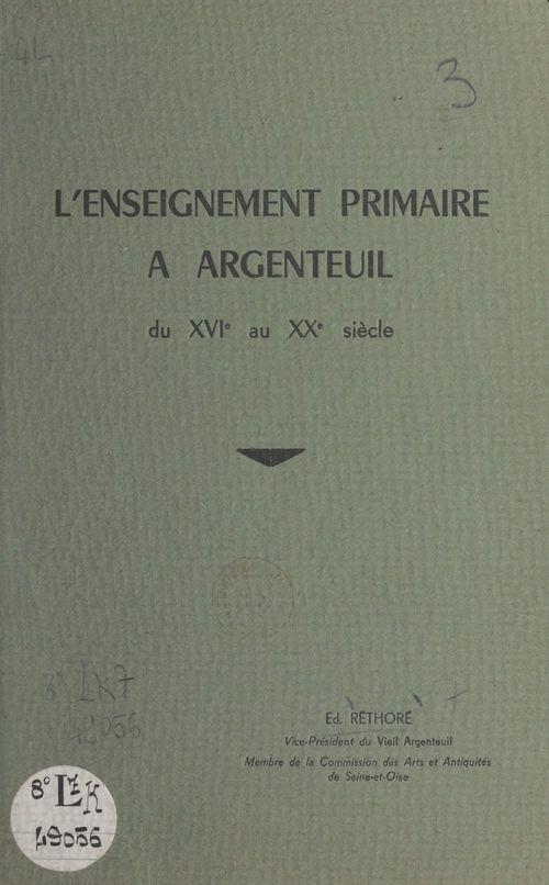 L'enseignement primaire à Argenteuil