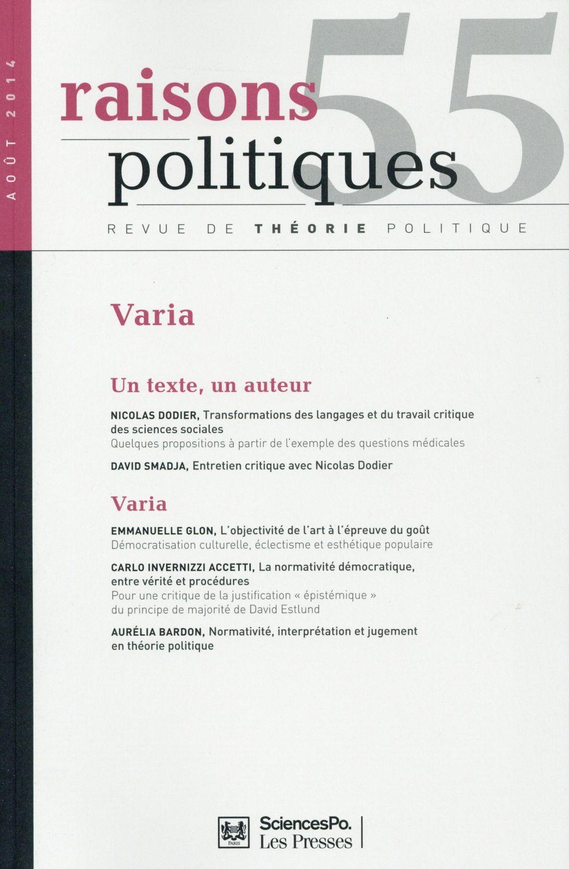 Revue raisons politiques n.55