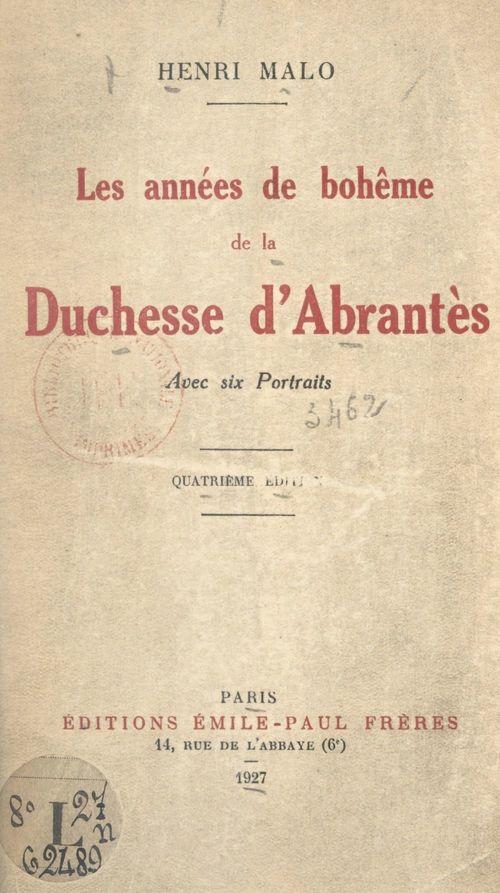Les années de bohême de la Duchesse d'Abrantès