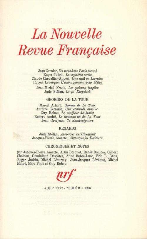 La Nouvelle Revue Française N° 236