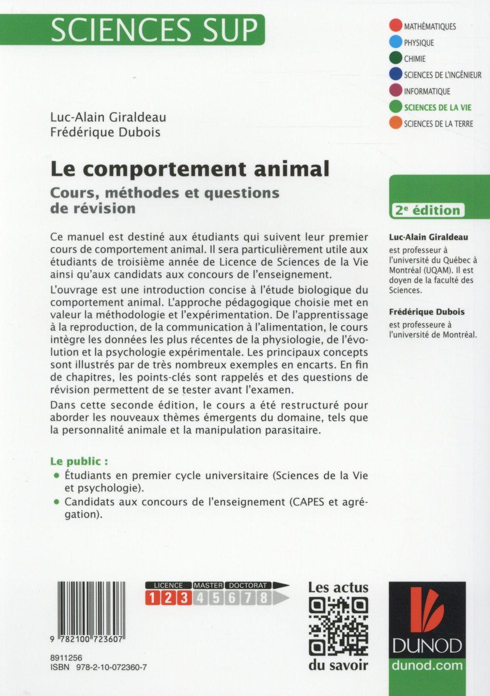le comportement animal ; cours, méthodes et questions de révision (2e édition)